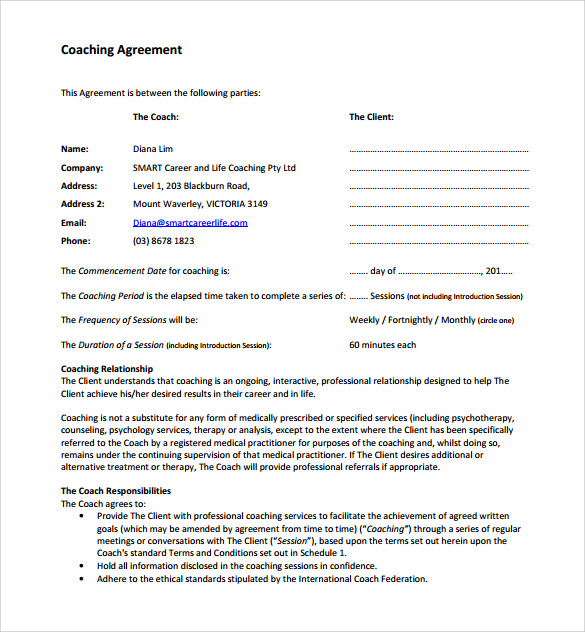 samples of sports coaching documentation