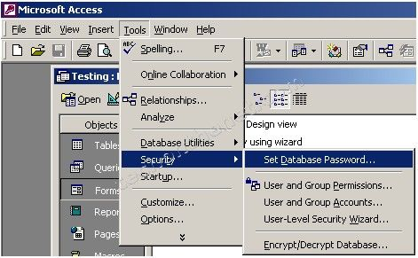 how to add password to word document 2003