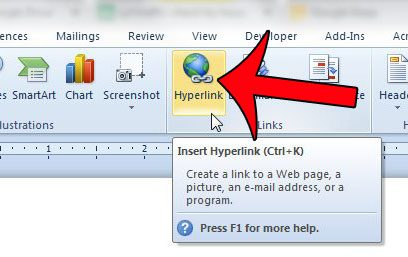 how to hyperlink in word document