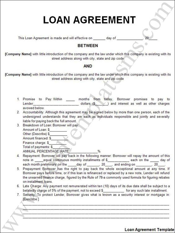 sample personal loan agreement document