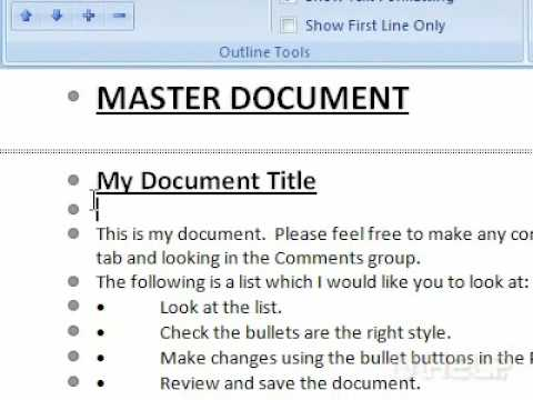 creating a master document in word