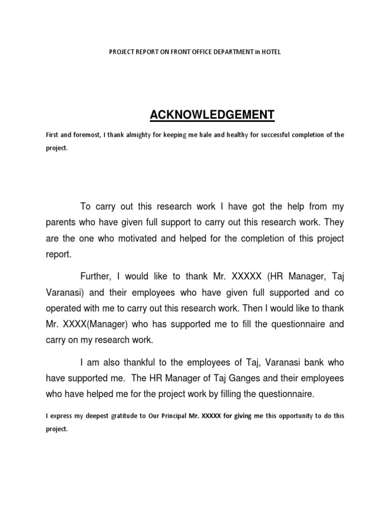 hotel management project report document
