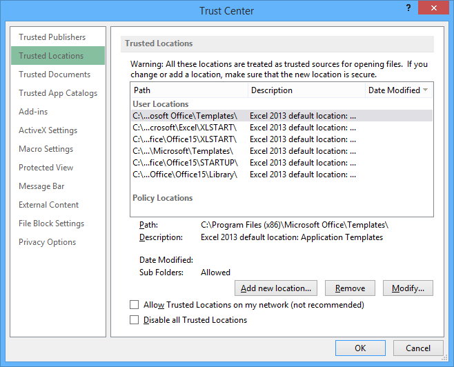 how to configure excel document to trust vbproject