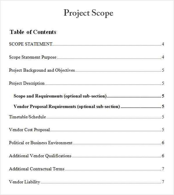 scope of the document sample