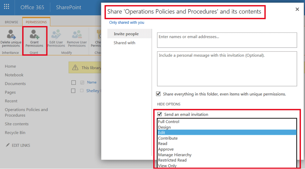 sharepoint document library delete all unique permissions
